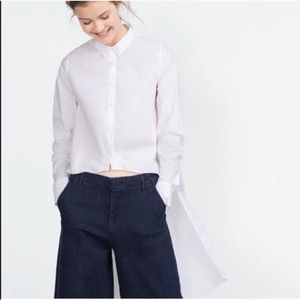 Zara White Asymmetrical Shirt